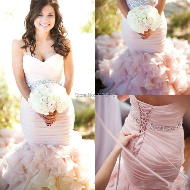 Vintage Blush Wedding Gowns With Crystals Beading Sash Lace up Back ...