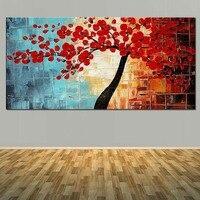 현대 아트 손 페인트 추상 피는 붉은 꽃 트리 오일 캔버스 예술 벽 그림 거실 침실 홈 벽 장식