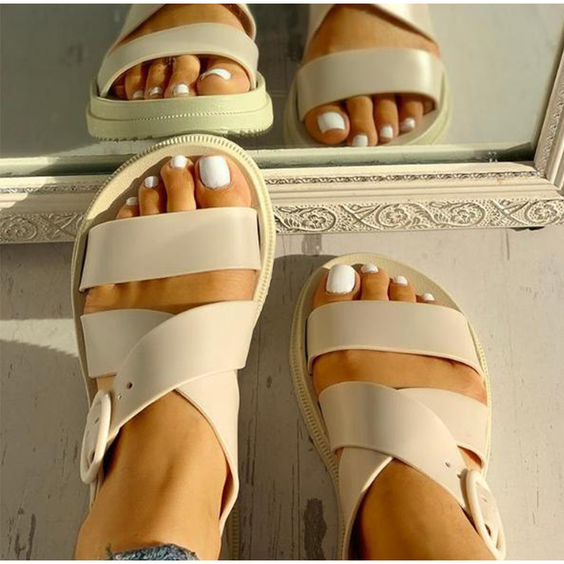 MCCKLE Flat Open Toe Buckle Soft Jelly Sandals