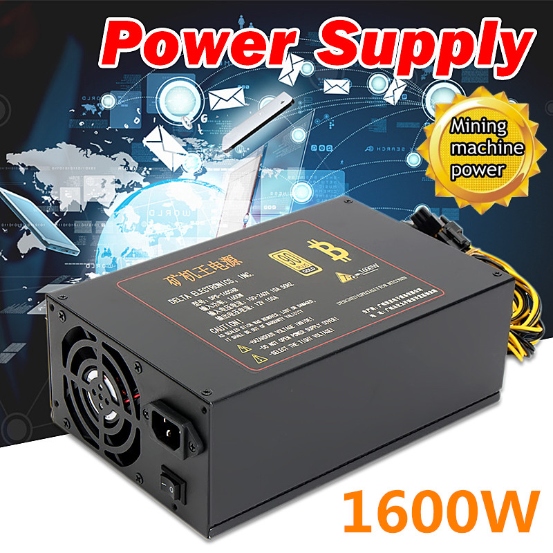 DPS-1600AB 100-240V 1600W Power Supply Bitmain PSU 6-Pin PCI for Antminer S9 S7 Miner Mining Dedicated Machine yunhui dash miner antminer d3 17gh s 1200w on wall no power supply bitmain x11 dash mining machine can miner btc on nicehash
