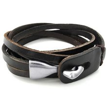 Male female jewelry bracelet bangle real leather alloy black