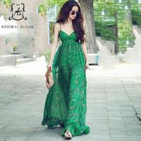 Vendy ירוקה V-צוואר סקסי קלע מורי ילדה חוף שיפון משי מקסי נשים ארוכות תחבושת שמלות vestidos רגוס דה verano