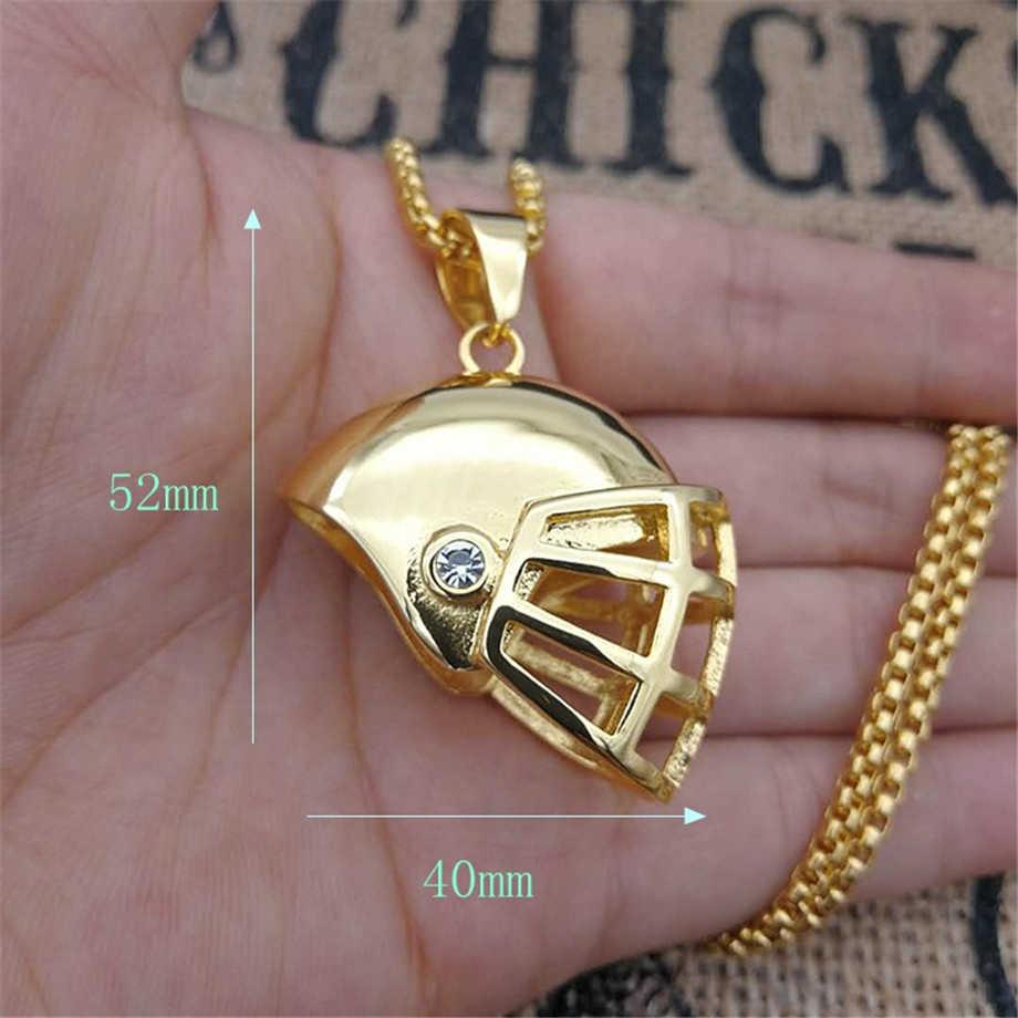Iced Out z daszkiem kask naszyjnik i wisiorek z łańcuch ze stali nierdzewnej złoty kolor Bling Cubic cyrkon męska Hip hop biżuteria dla