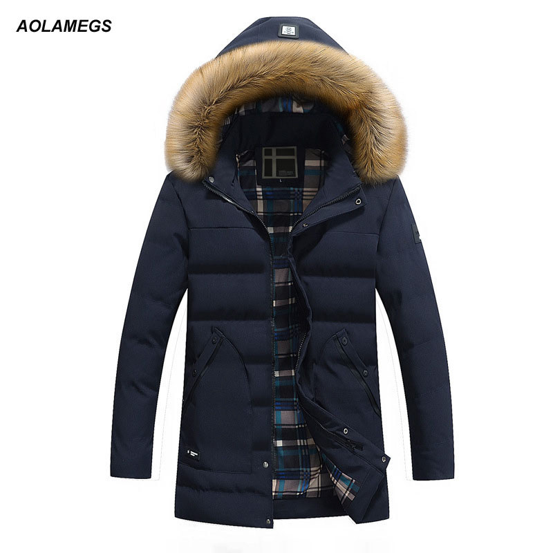 Aolamegs Winter Jacket Men Fur Collar Hooded Mens Casual Jackets Coats Warm Windproof Parkas Outwear Detachable Hat Plus Size fashion detachable hooded thick jackets men warm winter jacket parka men 2017 loose mens coats overcoats windproof cotton parkas