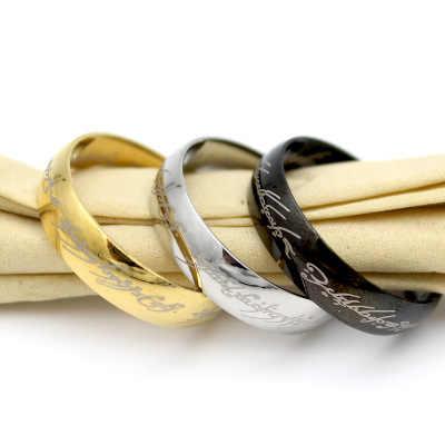 الأزياء خاتم الزواج الذهبي/أبيض/أسود اللون الفولاذ المقاوم للصدأ للنساء هدية