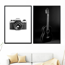 Camera Guitar Black White Photo Wall Art Canvas Painting Nordic Poster And Print Picture For Living Room Scandinavian Decor