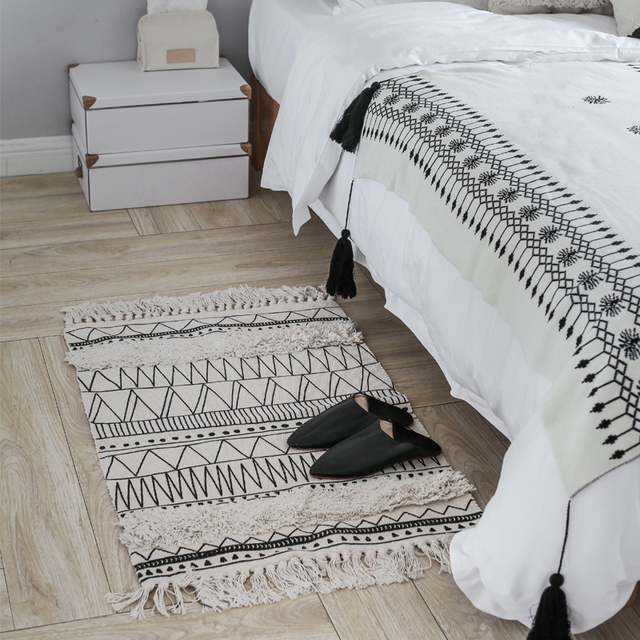 Kelim schwarz weiß 100% baumwolle wohnzimmer Nacht Teppich geometrische  Indische Teppich gestreiften Moderne Matte Marokko design Nordischen stil