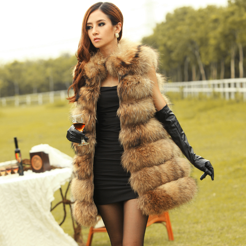 4124dbdb718 80cm Best Female Winter Warm Genuine Raccoon Dog Fur Vest Natural furs Real Fur  Coats For Women Jackets X Long Wholesale-in Real Fur from Women s Clothing  ...