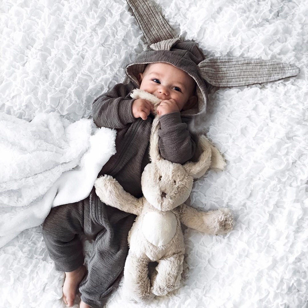 Cute Rabbit Ear Hooded Baby Rompers For Babies Boys Girls Overalls Newborn Clothing Pajamas Baby Jumpsuit Outfit Infant Costumes cotton baby rompers set newborn clothes baby clothing boys girls cartoon jumpsuits long sleeve overalls coveralls autumn winter