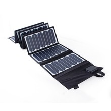 PORTABLE 60W 18V/5V Solar Charger Dual Output Foldable Folding Solar Panel Backpack Charger for iphone SE 6s/6s+ galaxy laptop