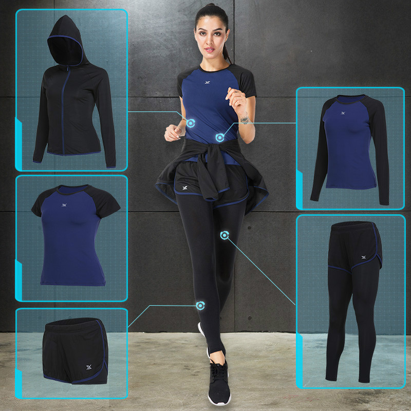 Women 5 Pcs Yoga Sets Compression Running Sports Suits Female Dance Fitness Gym Cool Comfortable Tracksuits Workout Sportswear fitness workout clothing and women s gym sports running girls slim leggings tops women yoga sets bra pants sport suit for female