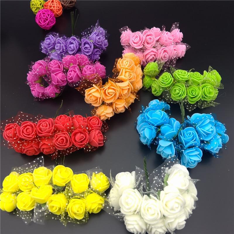 144 шт. диаметр 2 см Mini Multi Цвет вспененный полиэтилен выросли искусственный цветок сплошной Цвет Букет Свадебные украшения вечерние свадебные украшения