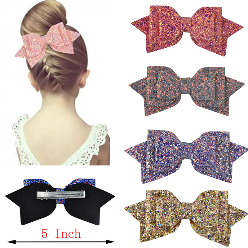 5 Inch/3 Inch Lovely Children Girls Blingbling Bow Cute Hair Accessories Hair Clips Kids Festival Bow-knot Hairpins   Headwear