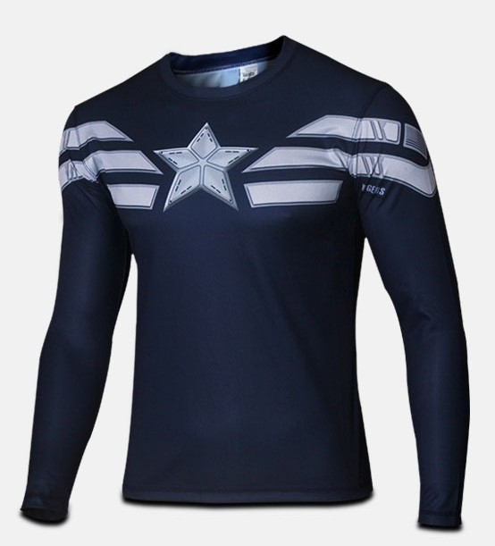 High quality winter wonders captain America 2 2015 soldiers clothing 3 d super HeroJersey long sleeved