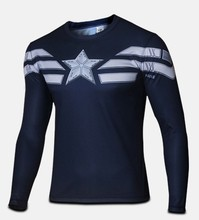 High quality winter wonders captain America 2 2015 soldiers clothing 3 d super HeroJersey long-sleeved Camisetas t-shirts men