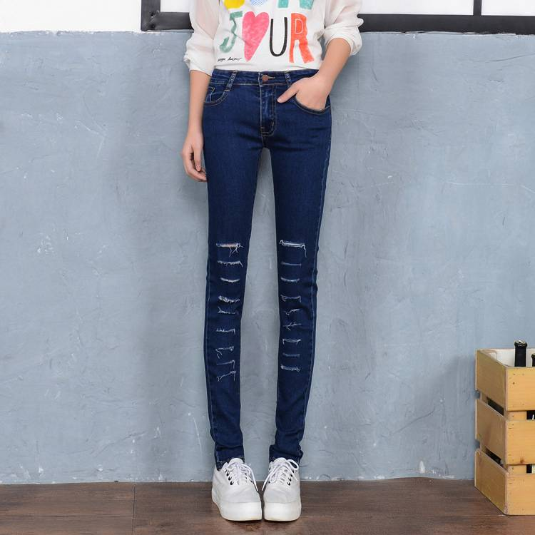 #1312 Spring Autumn 2016 Fashion Pantalon femme jeans Elastic Ripped for women Denim pants Womens