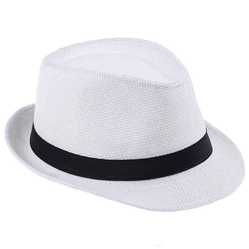 Livraison gratuite 2016 couleur unie Panama chapeaux de paille Fedora souple Vogue hommes femmes avare Brim Caps 6 couleurs choisir 58 cm