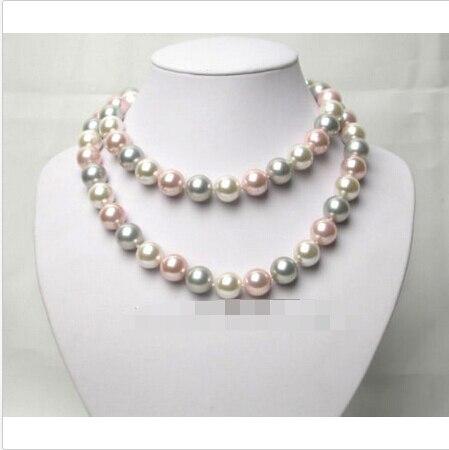 Livraison gratuite >>@@ AAA MEILLEURE ronde blanc rose gris coquillage perles collier @ ^ Noble style Naturel Fine jewe NOUVEAU