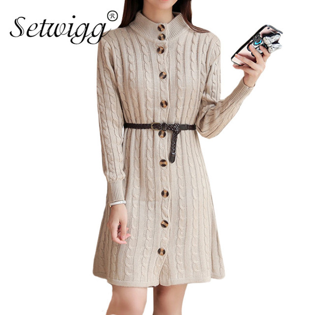d2b3b656c862d SETWIGG Women Single-breasted Casual Twist Knitted Midi Dress Long Sleeved  Sashes Straight Knee Length