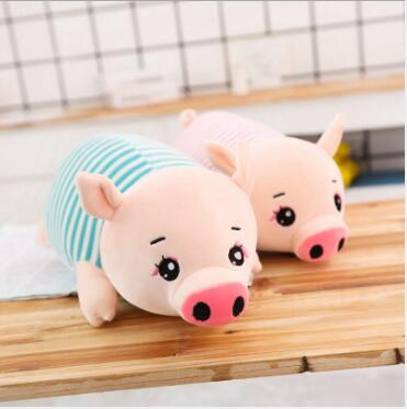 WYZHY Fairy striped pig figurine plush toy doll bedside decoration to send friends and children gifts 80cm