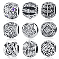 2017 Original 925 Sterling Silver Bead Charm Full Crystal CZ Pave Beads Fit Women Pandora Bracelets & Bangles DIY Jewelry