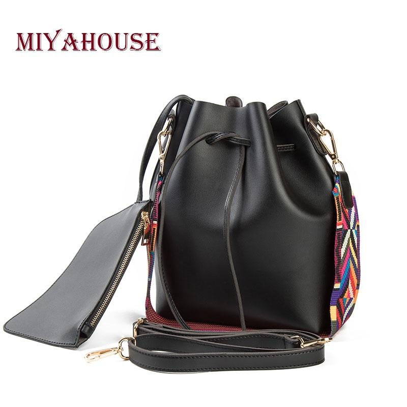 Prix pour Miyahouse mode colorée bracelet seau sac femmes de haute qualité pu sac à bandoulière en cuir marque desinger dames bandoulière sacs