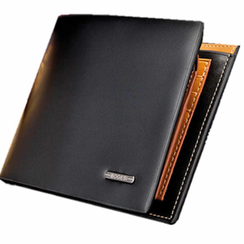 Cartera de marca de lujo bolsa de cartera de hombre genuino suave billeteras de moda plegable cartera monedero billetera extraíble portatarjetas de crédito