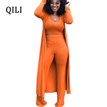 QILI New Hot Women 3 piece Set Jumpsuits Fashion Casual Solid Bodycon Jumpsuit Top+Pants+Cardigan Long Sleeve S-XXL