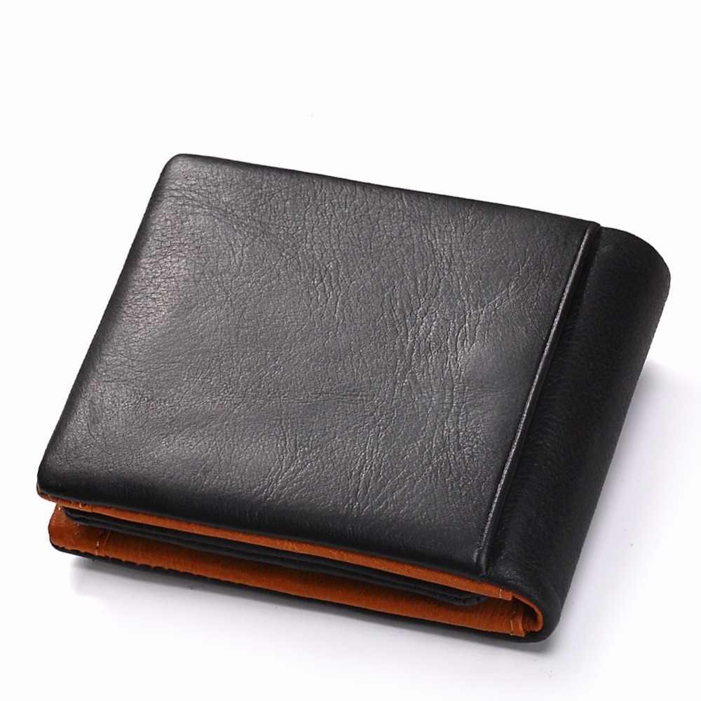 Gzcz carteira de couro genuíno dos homens moeda bolsa titular do cartão homem walet zíper design masculino vallet braçadeira para saco de dinheiro portomonee perse