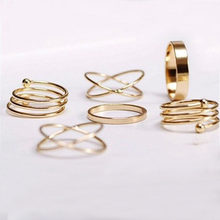 efa324109 6 PCS Best Selling Unique Anti-allergy Ring Set Gold Punk Knuckle Rings For  Women Finger Ring Set Girls Bohemian Birthday Gift