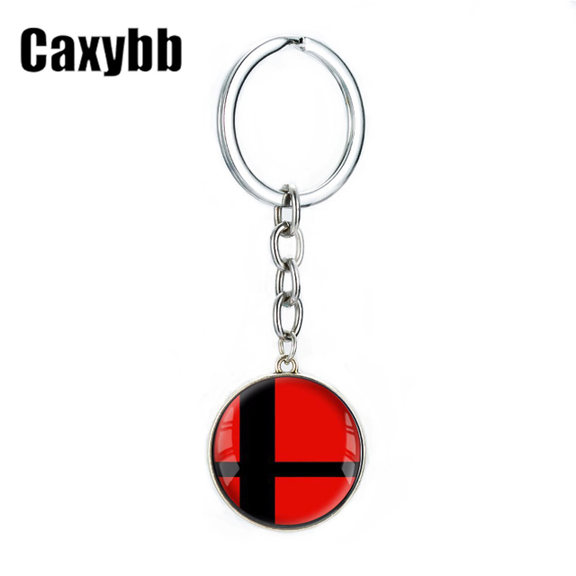 Caxybb Vintage Super Smash Bros Ball red and Black Key key chain For Boys Students Cartoon Jewelry Key Rings Jewelry gifts G32