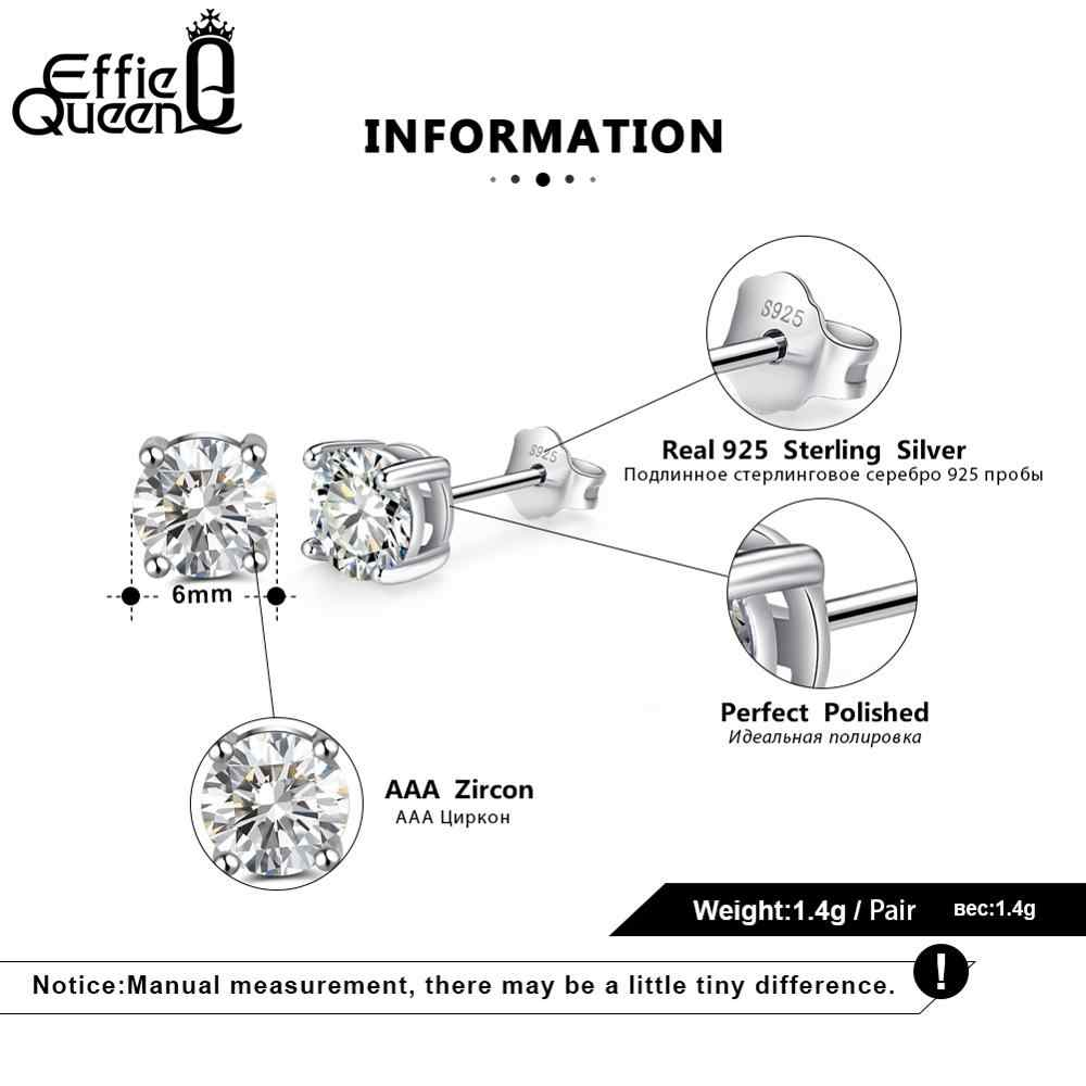 Effie Queen 925 Sterling Silver Birthstone Earrings for Women AAA Cubic Zircon 12 Colors Stud Earrings Fashion Girl Jewelry BE84