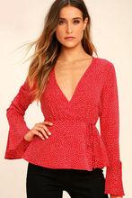 Hirigin Women's Ladies Summer Loose Tops Long Flare Sleeve V-Neck Polka Dot Print Shirt Casual Blouse