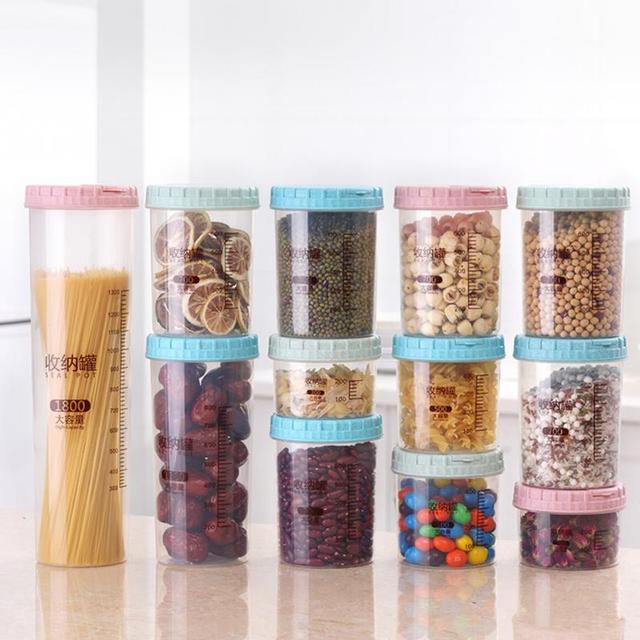 1 piece Transparent plastic jars Seal jars Grains storage Bottles spice jar kitchen storage cans Kitchen Storage Organization
