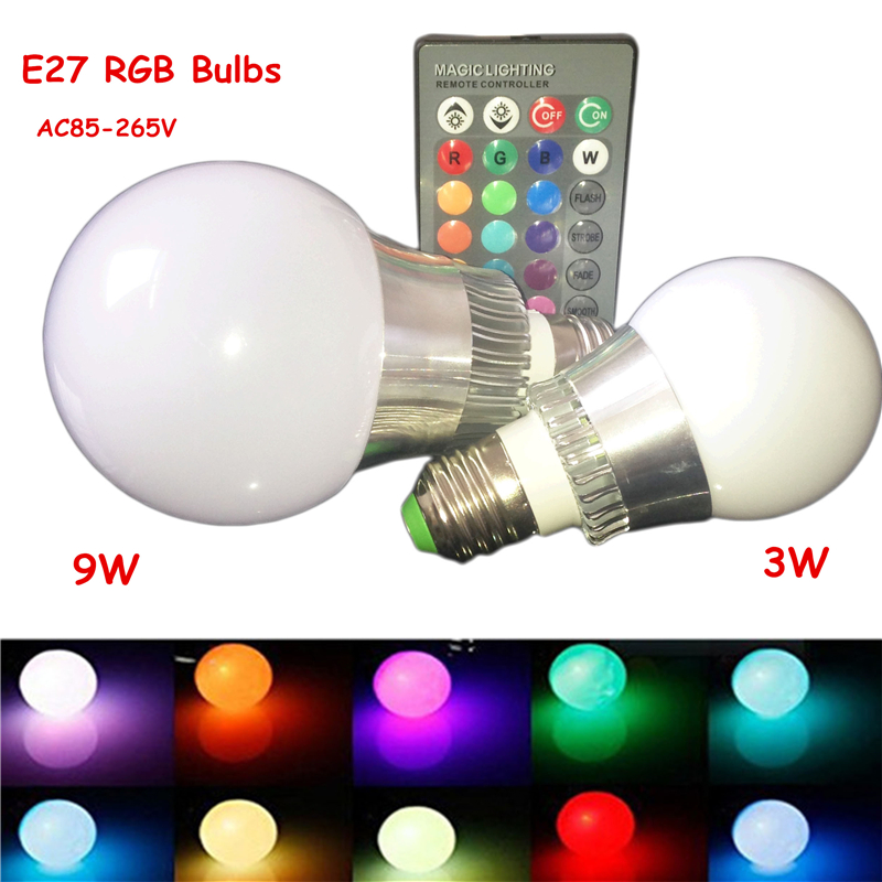 1Pcs E27 LED RGB Bub Lamp 110V 220V 230V 3W 9W Dimmable Magic Holiday RGB Spot Lamp Lighting With IR Remote Control 16 colors agm rgb led bulb lamp night light 3w 10w e27 luminaria dimmer 16 colors changeable 24 keys remote for home holiday decoration