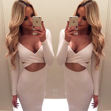 JSMY 2019 New Summer Fashion Women Sexy Slim Long-sleeved Openwork Pack Hip Nightclub Dress