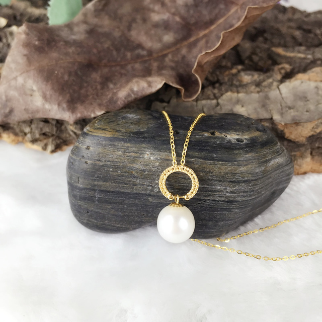 08e8f7cfe54e2 US $111.94 31% OFF|AINUOSHI 18K Yellow Gold Natural Cultured Freshwater  Pearl Pendant Necklace Women Wedding Engagement Round White Pearl Bijoux-in  ...