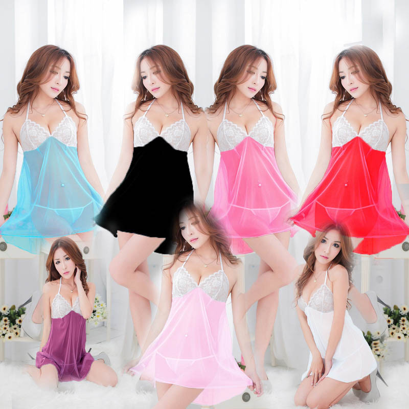 Nightgowns   &   Sleepshirts   Large size Underwear lace exposed breast strap low-cut princess short big nightdress