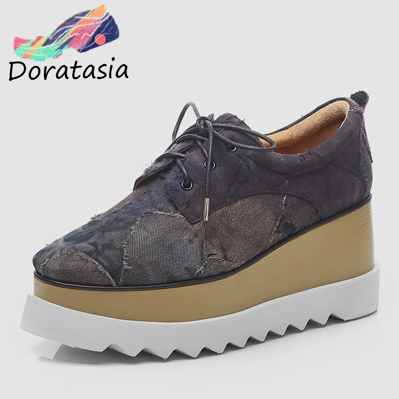 DORATASIA 2019 Spring New Patch Denim Thick Platform Shoes Women Comfortable Leather Lining Sneakers High Heels