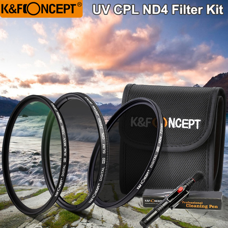 K&F CONCEPT UV+CPL+ND4 Lens Filter Kit+Filter Pouch+Lens Cleaning Pen 52/58/62/67/72/77mm For Nikon Canon Sony DSLR Camera