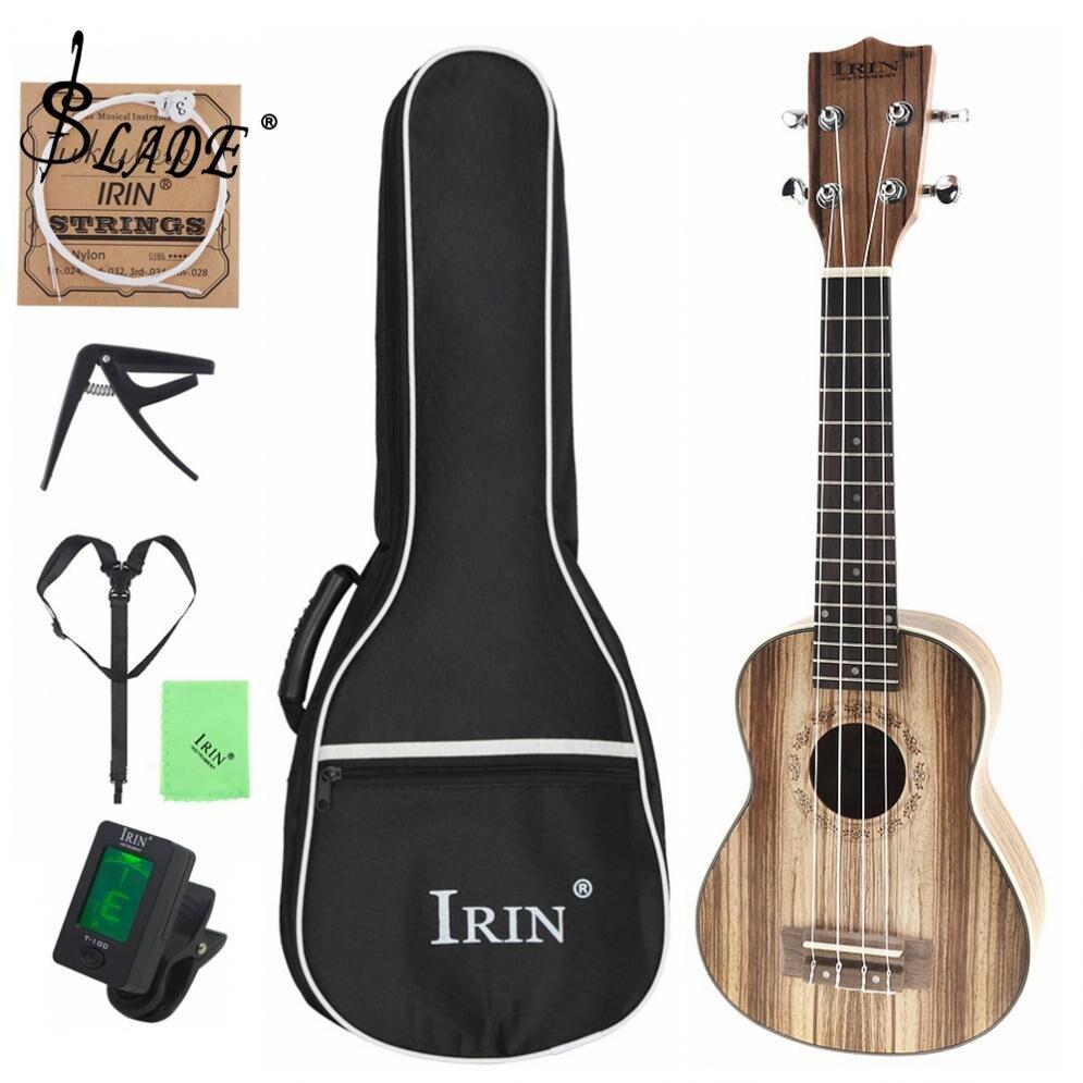 21 pouce Zèbre Bois Ukulélé débutants Soprano 15 Frette Quatre Cordes Hawaï Guitare Instrument de musique + Sac + Tuner + sangle + Chaîne + Tissu