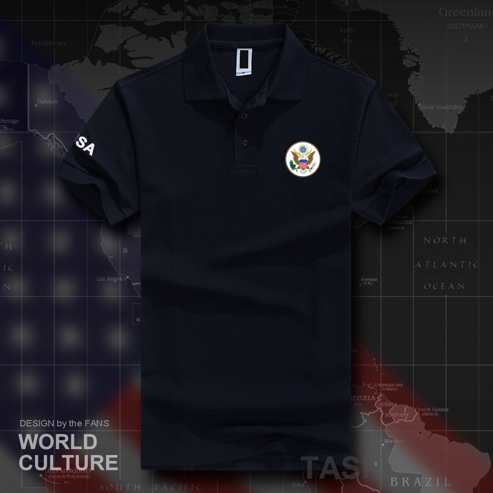 United States of America USA   polo   shirts men short sleeve white brands printed for country 2018 cotton nation emblem new fashion