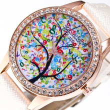 Творческий мультфильм Дерево Узор розового золота с бриллиантами сплав Циферблат Белый 20 мм кожаный ремешок Для мужчин студента пара роскошных кварцевые часы C53