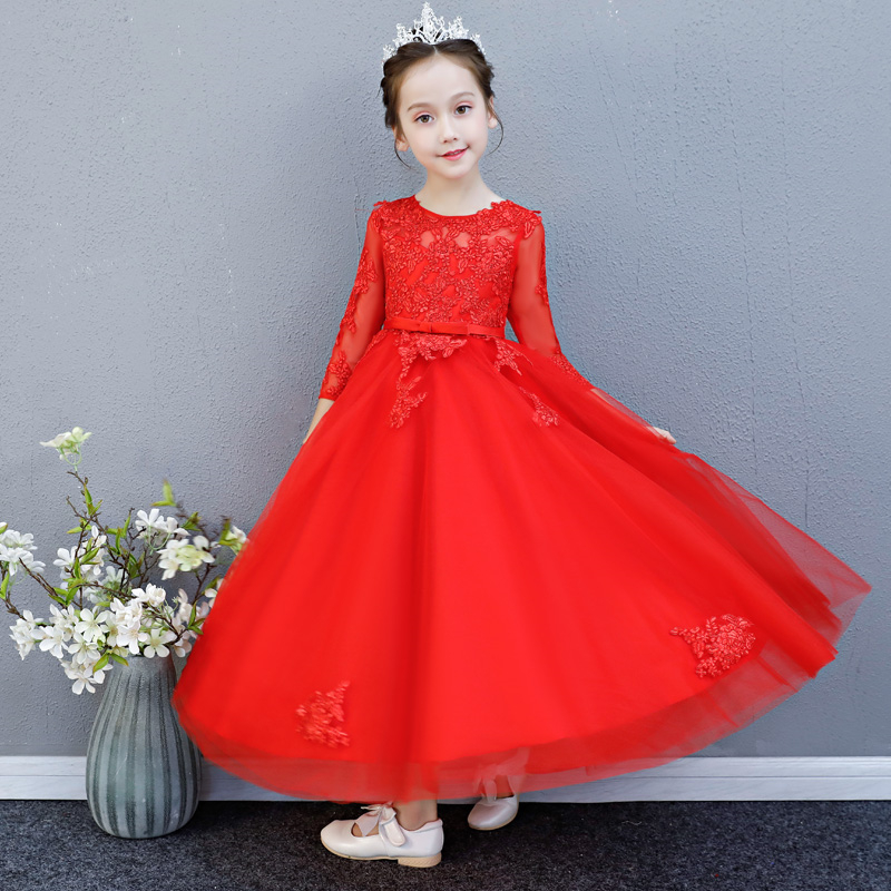2018 High Quality Children Girls Red Color Birthday Wedding Party Half Sleeves Princess Lace Prom Dress Kids Teens Piano Dress2018 High Quality Children Girls Red Color Birthday Wedding Party Half Sleeves Princess Lace Prom Dress Kids Teens Piano Dress