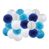 "21pcs/set Mixed 8"" 10"" Blue Set Round Paper Lantern For Boy Girl Baptism Wedding Holloween Party Decoration Hanging Paper Crafts"