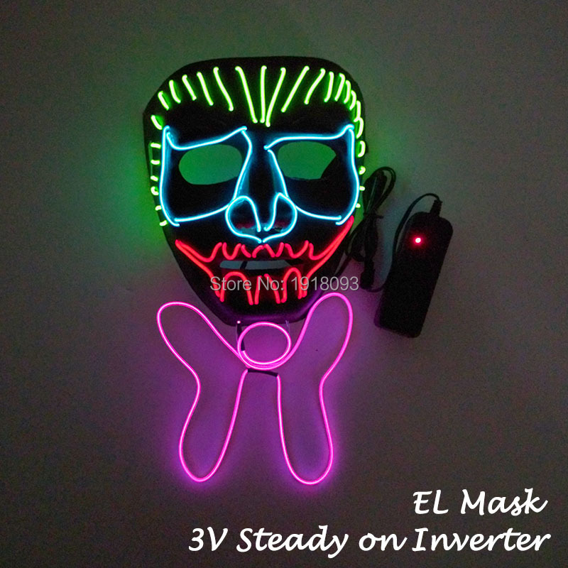Creative Christmas Gift EL Wire Mask Lighting Party Decorative Mask Rave Party Mask Novelty Lighting Supplies ...