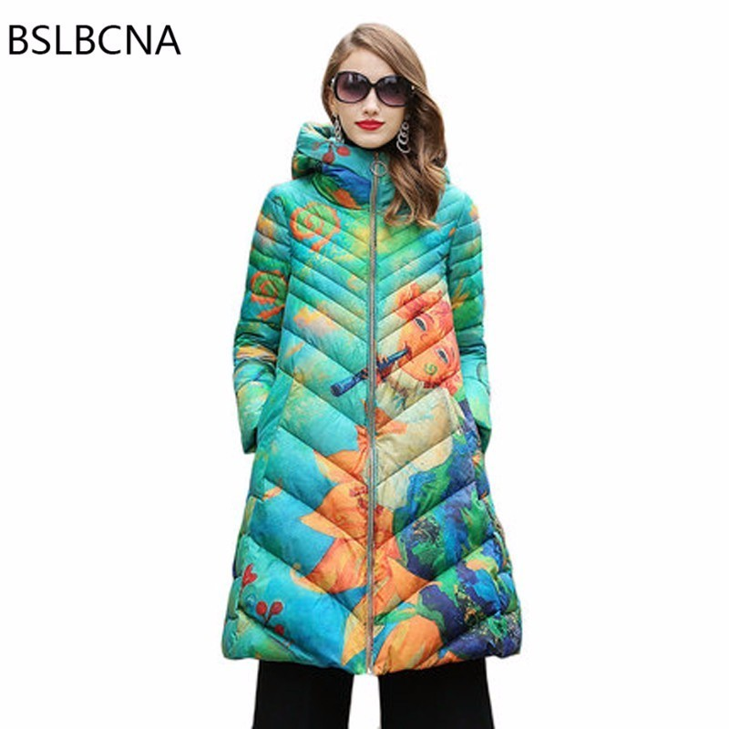attractive style purchase genuine quality first US $142.5 50% OFF|Print Plus Size Mid Length Outerwaer Hat Down Jacket  Loose Winter Coat Women Parka Female 2018 European New Casual Overcoat  A413-in ...