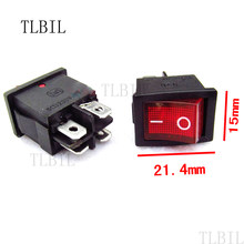 100Pcs/lot 4 Pin 5A 250V Red Red LED illuminated Button Rocker Switch On-On Rocker Power Switches(China)