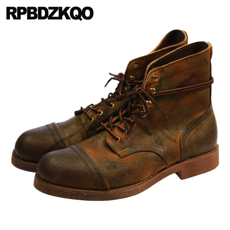 Fall Men's Shoes Brown Genuine Leather Boots Runway European Ankle Vintage Booties High Quality Suede Autumn Lace Up Designer