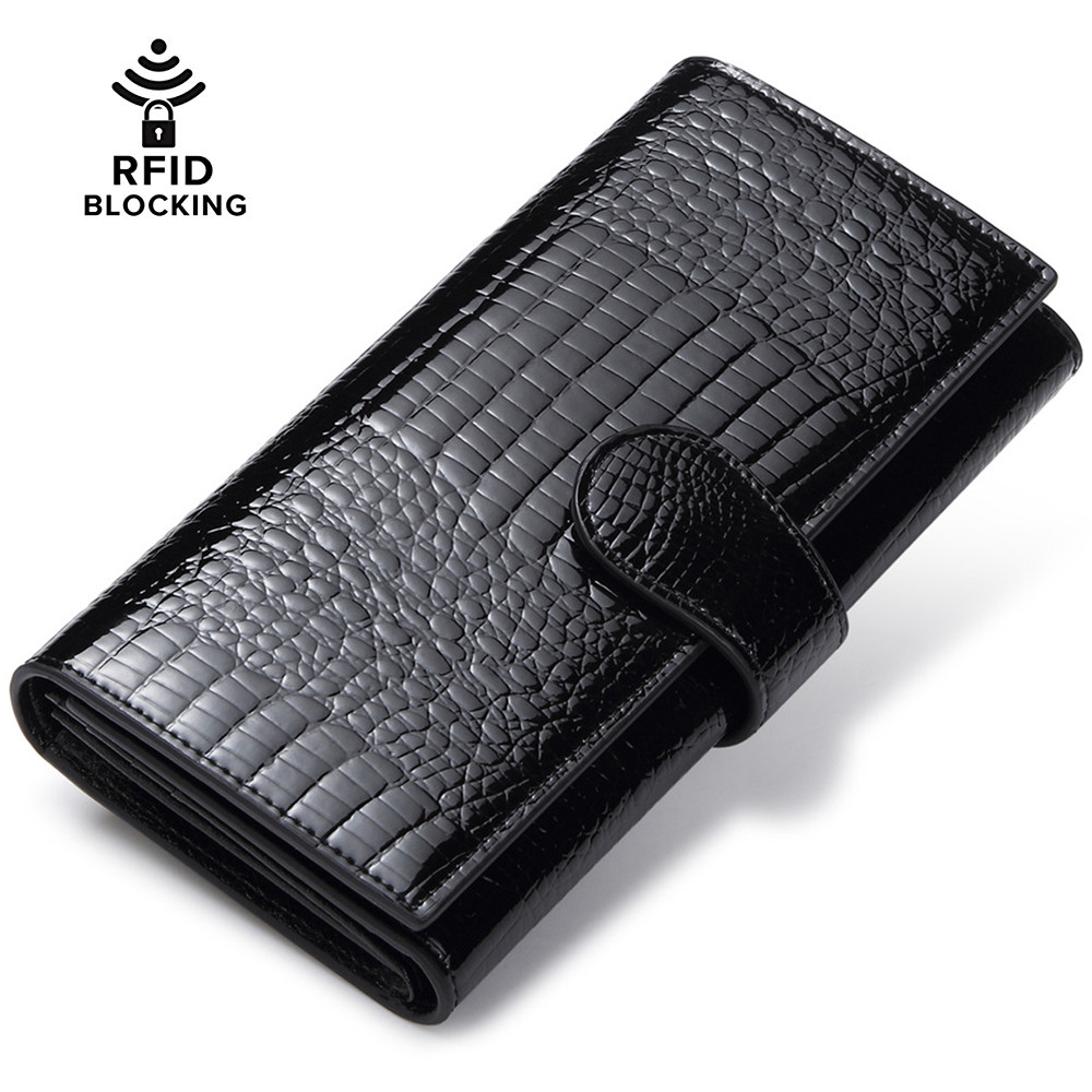 JEEBURYEE Womens Wallet Genuine Leather RFID Wallet Female Coin Purse Long Clutch Credit Card Holder Ladies